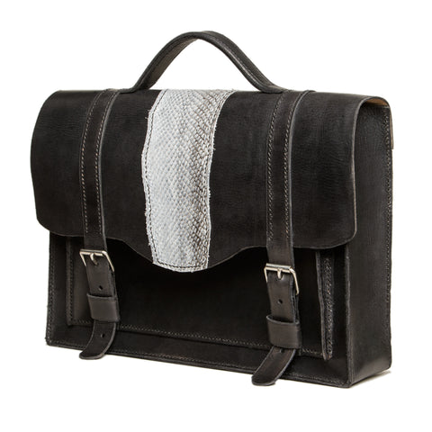 Sold! - Medium size black briefcase with salmon fishleather decoration