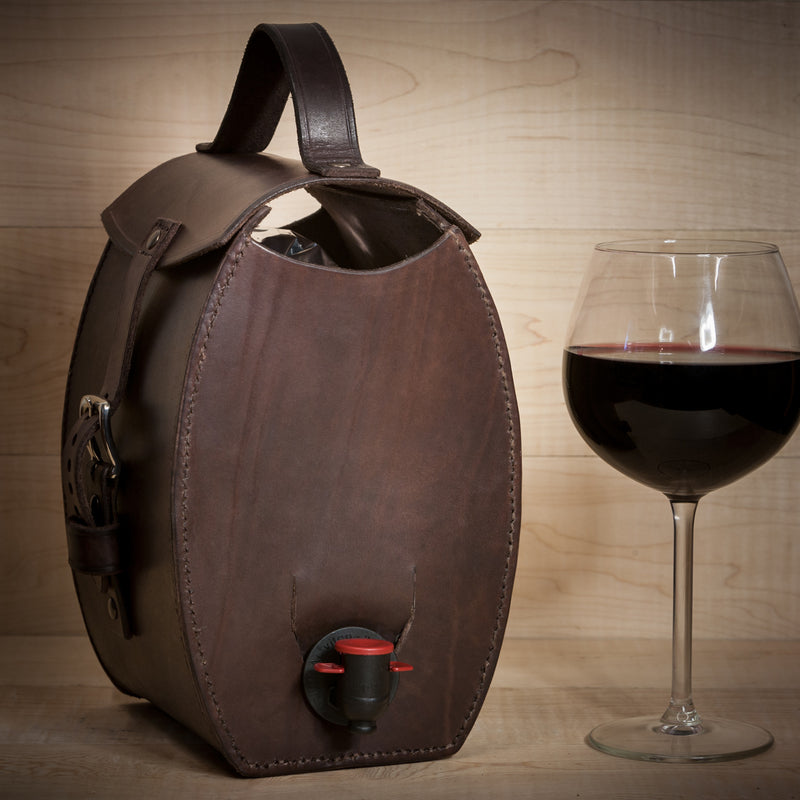 Mjolka - Dark brown leather bag for wine, For home, Good Old Company - Hraun- Art and design