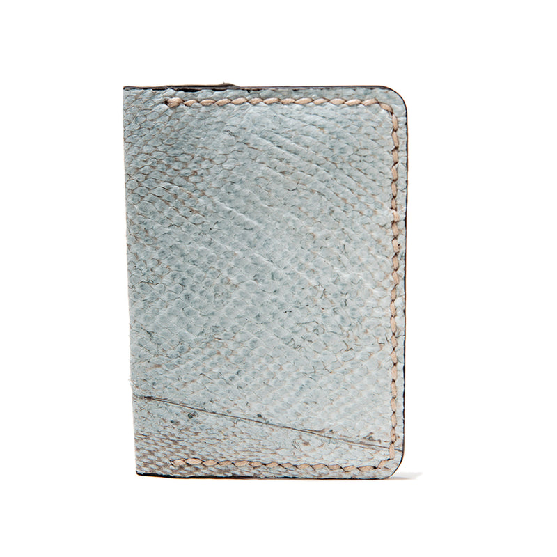 Hand stitched fishleather card wallet with natural color cod skin and brown interior