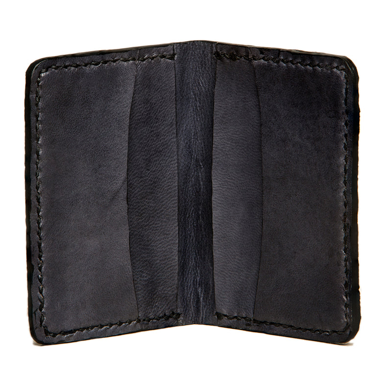 Slim Jim wolffish fishleather card wallet with black goat interior