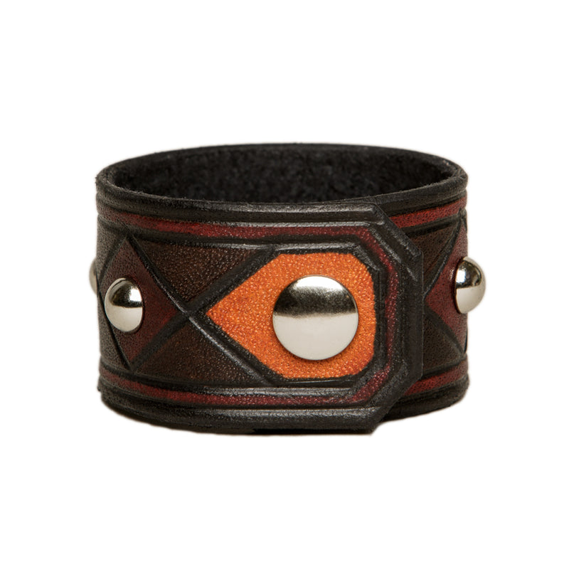 The Joker carved and studded leather cuff, Bracelet, Good Old Company - Hraun- Art and design