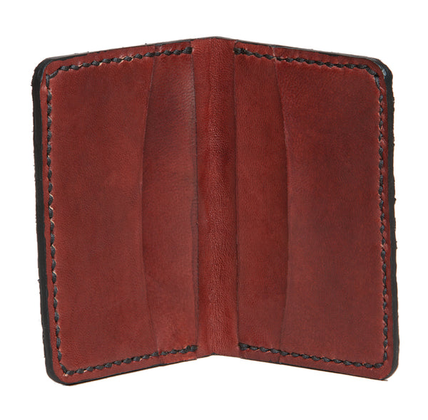 Hand stitched fishleather card wallet with natural color salmon skin and dark mahogany, Fishleather wallet, Good Old Company - Hraun- Art and design