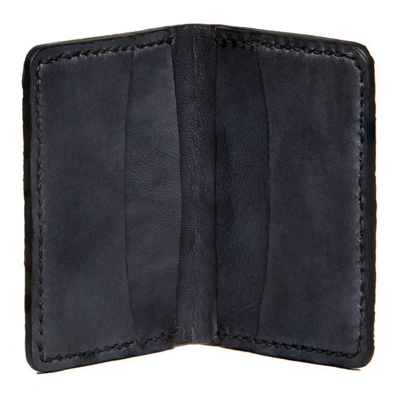 Hand stitched fishleather card wallet with natural color wolffish and black interior, Fishleather wallet, Good Old Company - Hraun- Art and design