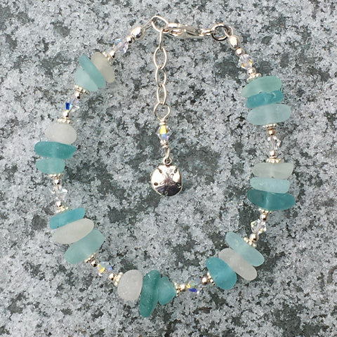 Shades of Aqua Sea Glass Bracelet with Sand Dollar