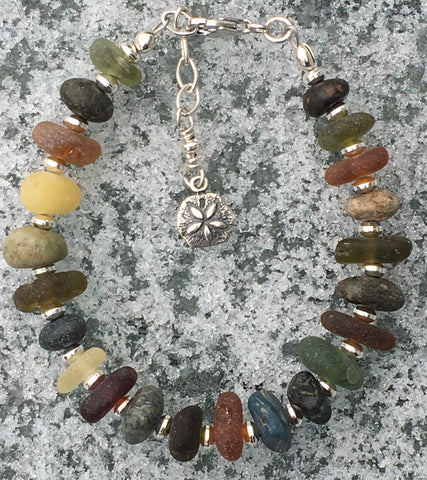 Rock, Sea Glass and Agate Bracelet