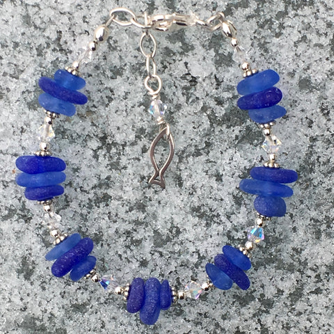 Cobalt and Cornflower Blue Sea Glass Bracelet