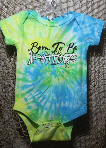Born To Be Wild 12 Month Infant Tie-Dye Blue & Yellow Onesie