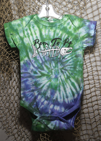 Born To Be Wild 18 month Infant Tie-Dye Green & Purple Onesie