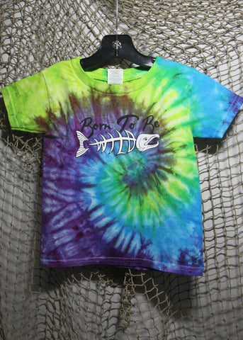 Born To Be Wild Size 3 Toddler Tie-Dye Blue, Lime & Purple T-shirt