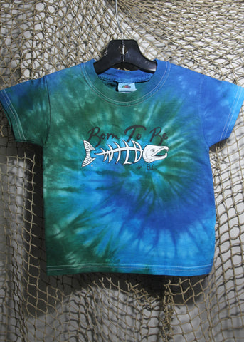 Born To Be Wild Size 2 Toddler Tie-Dye Blue & Green T-shirt