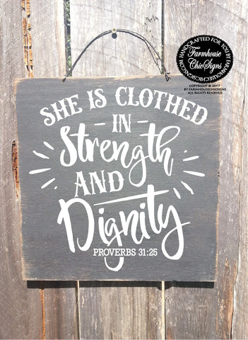 she is clothed in strength and dignity, christian wall decor, bible ...