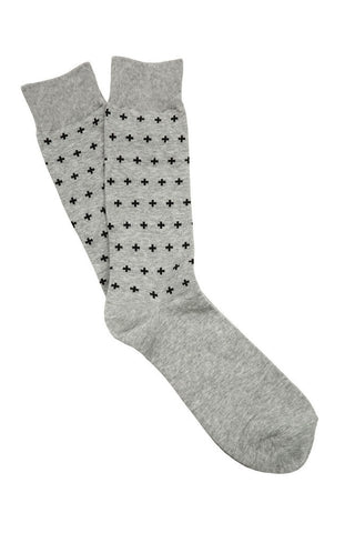 Grey & Black Cross Socks