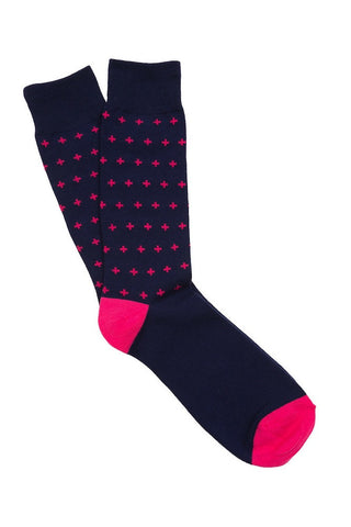 Navy & Pink Cross Socks