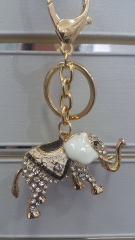 Glitzy Gold Finish Elephant Bag Charm