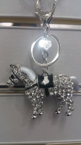 Diamante Horse Bag Charm In Silver Effect