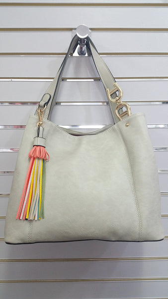 Cool Designer Inspired Handbag In Stone/Grey