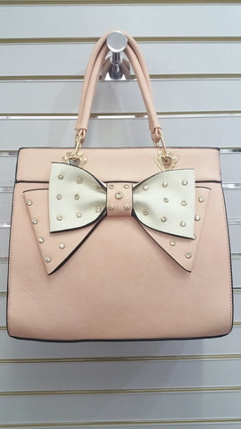 Cute Designer Inspired Handbag In Blush Pink With Sparkly Bow