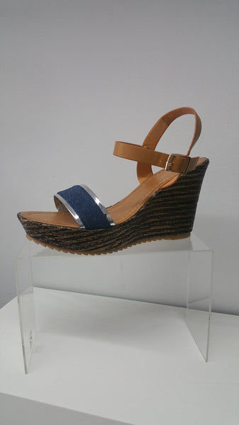 Cool and Chic Wedge In DenimBlue With Chrome Detail