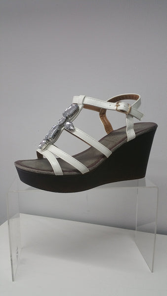 Cool and Chic Wedge In Cream With Jeweled Detail