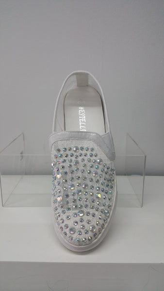 Gorgeous Jeweled Trainers In White