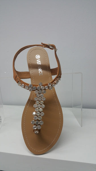 Chic sandals In Camel With Gorgeous Jeweled Detail