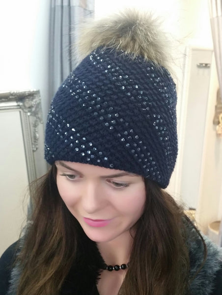Gorgeous Woolen Bling Hat With Fur Pom Pom In Black