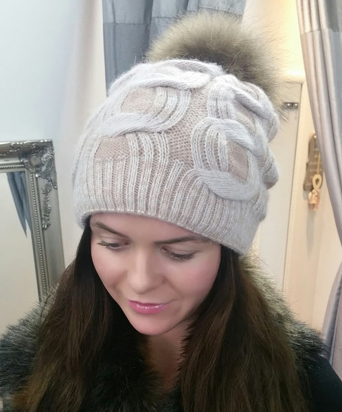 Copy of Gorgeous Woolen Hat With Giant Pom Pom In Pale PinkCream