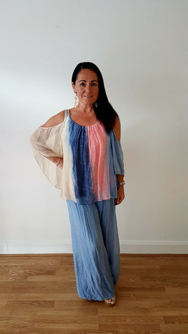Boho Silk Print Top With Elegant Sparkle In Blue,coral & Stone