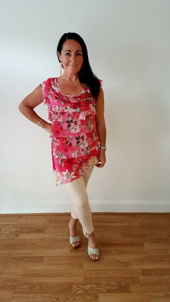 Layered Stretch Jersey Silk Top With Pretty Floral Print In Hot Pink