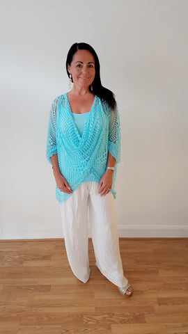 Beautiful Devoire Top In Turquoise