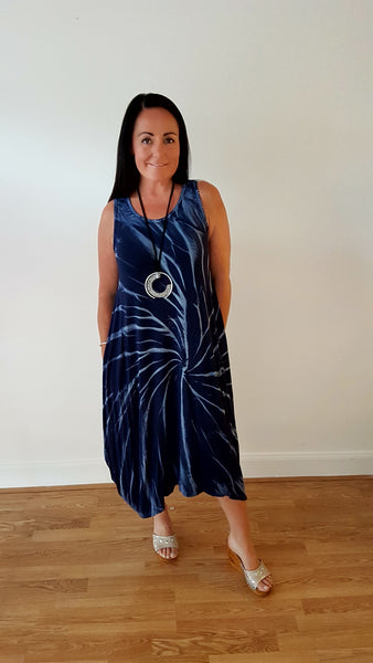 Tie Dye Maxi Jersey Dress In Navy/Denim
