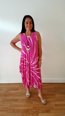 Tie Dye Maxi Jersey Dress in Hot Pink /White