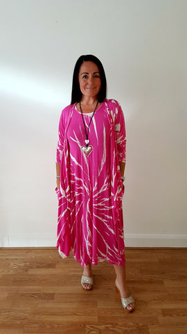 Tie Dye Maxi Jersey Waterfall Cardi in Hot Pink /White