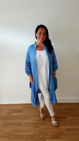 Beautiful Layered Linen Coat In Denim Blue