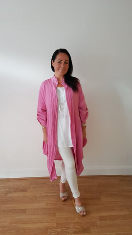 Beautiful Layered Linen Coat In Deep Rasperry