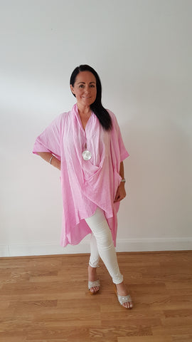 Super Chic Oversized  Cotton Top In Rose