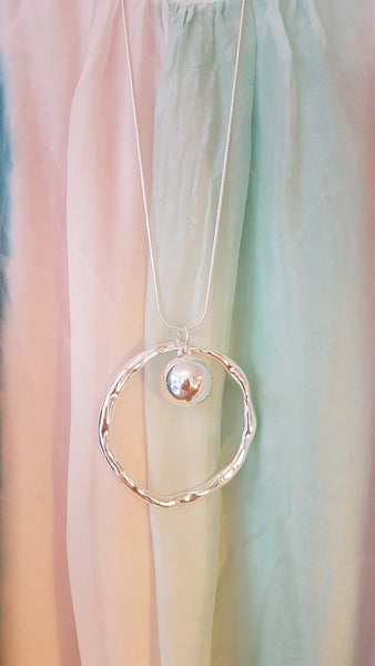 Abstrct Circle Necklace With Large Silver Ball