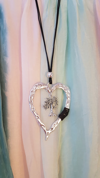 Abstract Silver Heart Necklace With Tree Of Life