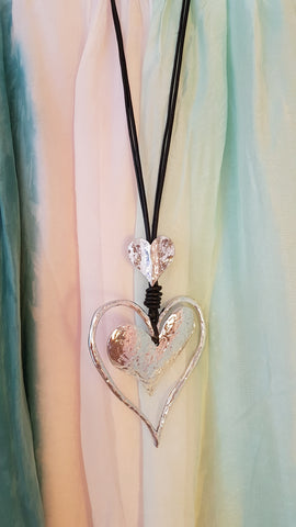 Abstract Silver Heart Necklace