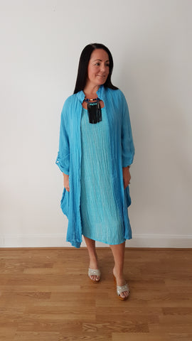 Beautiful Torquoiise Linen Dress