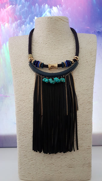 Funky Fringe Necklace With Turquoise Stone Detail