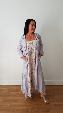 Beautiful Soft Pink  Linen Dress With Large Floral Print