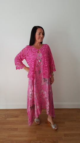 Beautiful Hot Pink Linen Dress With Large Floral Print
