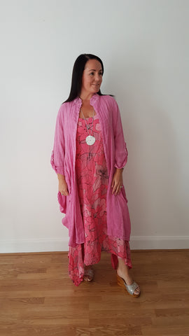 Beautiful Salmon Pink Linen Dress With Large Floral Print