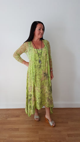 Beautiful Lime Green  Linen Dress With Large Floral Print