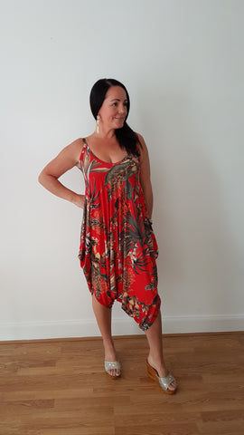 Tropical Print Jumpsuit In Red