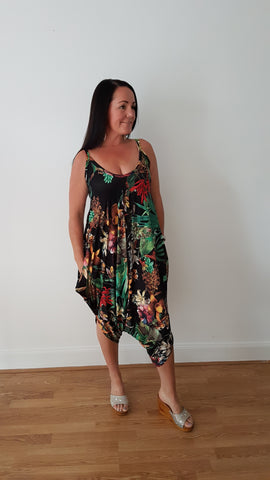 Tropical Print Jumpsuit In Black