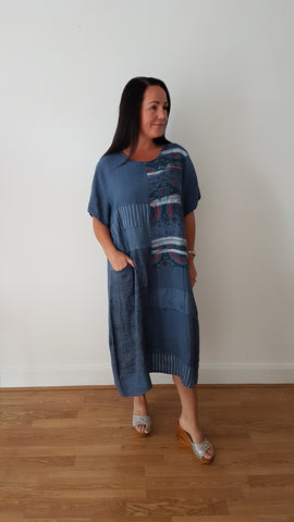 Beautiful Denim Blue Linen Dress With A Cool Print