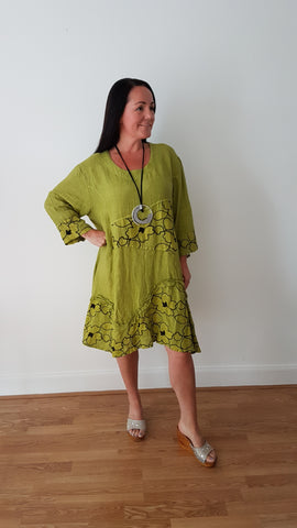 Beautiful Lime Green  Linen Dress