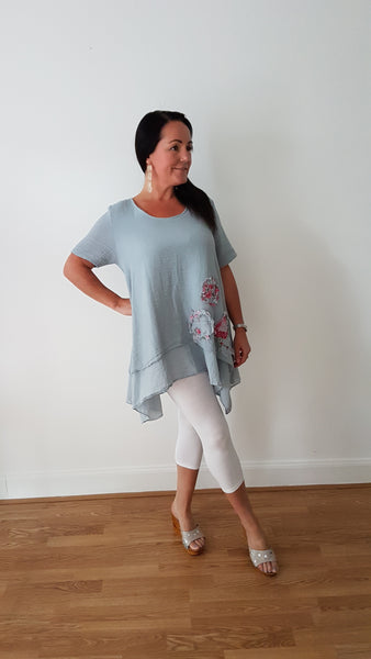 Oversized Linen Tunic Top With Pocket Detail